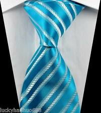 New Classic Stripes Light Blue White JACQUARD WOVEN 100% Silk Men's Tie Necktie