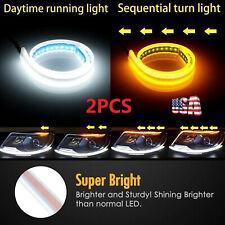 2PC Flexible 60cm LED Headlight Slim Strip Lights DRL Dynamic Turn Signal Lamps