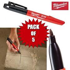 5 Pack Milwaukee 1mm inkzall fine pointe de stylo marqueur noir poussière wet surfaces huileuses