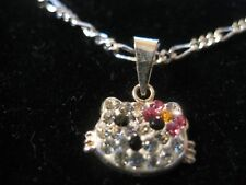 """HELLO KITTY Pendant in .925 Sterling Silver filled w stones & 24"""" Figaro Chain"""