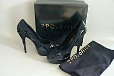 PPQ at OFFICE Black Temperence Stiletto Heel Shoes Size 7 / 40 NEW BOXED