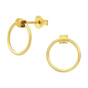 14ct Gold-Plated 925 Sterling Silver Open Circle Stud Earrings (Design 3)