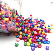 200 COLOURFUL Beads with WHITE Random Alphabet/ Letter 7mm hole 1.5mm GORGEOUS
