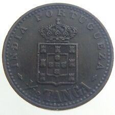 1901 India Portuguese 1/12 Tanga Circulated KM 13 Bronze Carlos I Coin T711