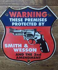 "Smith & Wesson 12"" Porcelain Enamel Shield Sign"