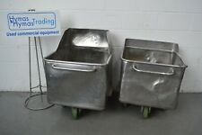 More details for 200 litre tote bins x 2 watertight but well used (see pics) good wheels free p+p