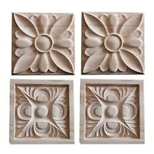 2PC Wood Applique Vintage Embossed Decal Square Woodcarving Craft DIY Decoration