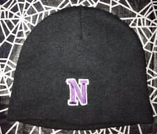 3 KNIT BLACK WINTER HATS MENS TEEN BOYS PURPLE LETTER N ON FRONT ACRYLIC CLEAN @