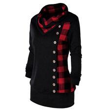 Women Plaid Hoodies Sweatshirt Long Sleeve Casual Coat Jacket Tops Blouse XL-5XL