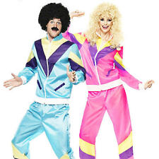 Shell Suit + Wig Adult Fancy Dress 1980s Scouser Mens Ladies Tracksuit Costume