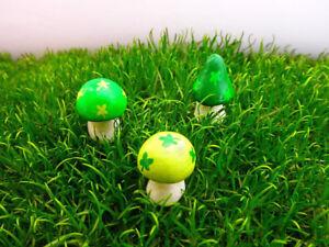 Fairy Garden St. Patrick's Day Miniature Mushrooms Shamrock Decoration