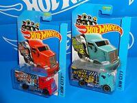 Hot Wheels Lot of 2 2014 HW City Works Hiway Hauler 2 Red & Blue