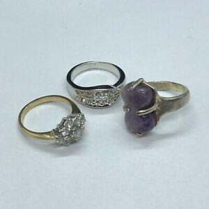3 x Beautiful Yellow & White Metal Rings, SIZE M (JW13)