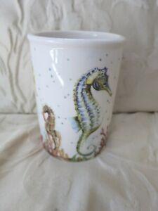 """DEI Dennis East International Sea Horses Ceramic Vase Utensil Holder 6"""" High x4"""""""