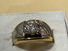 stone 14 k heavy gold plated Hge mens ring size 11 signed lind shiny