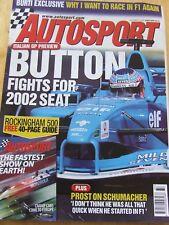 AUTOSPORT MAGAZINE SEP 2001 BUTTON FIGHT FOR SEAT BURTI EXCLUSIVE PROST ON SCHUE