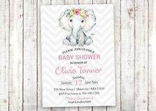 Elephant Baby Shower Invitation, Floral, Pink, Girl, Elephant, Invitation, Baby