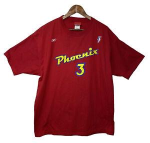 Vintage Diana Taurasi #3 Phoenix Mercury WNBA Reebok Red Jersey T-Shirt Size XL