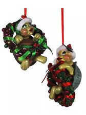 Katherine's Collection Set of Two Turtles in Wreath Ornaments 5 inch 28-29633