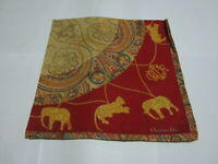 """USED VINTAGE RED ANIMAL PAISLEY PATTERN COTTON 20"""" HANDKERCHIEF HANKY FOR LADIES"""