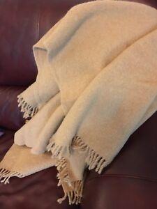 "Zambaiti Square Throw Blanket 100% Wool Camel Tan With Fringe 57"" X 57"""