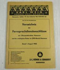 Verzeichnis der Fernsprechdienstanschlüsse der Oberpostdirektion Hannover 1955