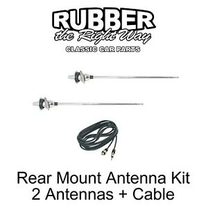 1965 1966 Chevy Rear Mount Antenna Kit W/ Cable - LH & RH Sides