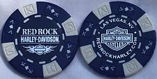 Red Rock Harley-Davidson® in Las Vegas, NV Collector Poker Chip Blue/White NEW