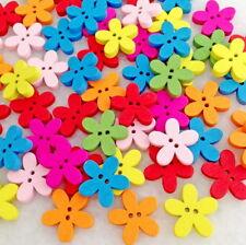 100pcs Mixed Colors Flower Wooden Buttons 2 Holes Fit Sewing Scrapbook Hnk213