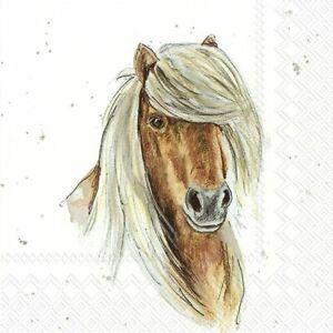 4 x Single Paper Napkins/3 Ply/Decoupage/Craft/Farmfriends/Horse