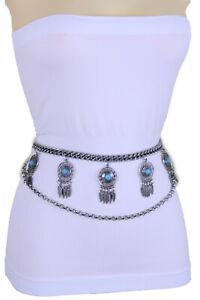 Women Hip Waist Belt Striking Cool Silver Metal Chain Feather Charm Plus XL XXL
