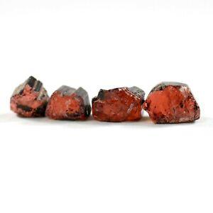 Natural Tourmaline Crystal Specimen Set of 4 Clear Solid Red Pink Color 25 grams