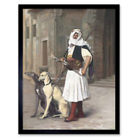 Gerome Arnaute With Two Whippets Dog Painting Art Print Framed 12x16