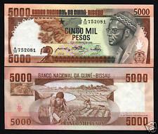 GUINEA BISSAU 5000 5,000 PESOS P9 1984 CABRAL MAP GRAIN HARVEST UNC BANK NOTE