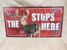 The Buck Stops Here Tin Metal Sign Decor Deer Hunting FUNNY HUMOROUS