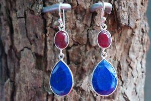 Dyed Ruby, Lapis Lazuli Real Gemstone Earrings in Fine Sterling Silver 925
