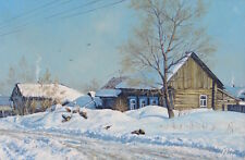 ORIGINAL WINTER  SNOWY LANDSCAPE OIL PAINTING BY TALENTED ARTIST ALEXANDER VOLYA