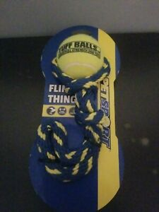"""Fling Thing Dog Puppy Toy with 2.5"""" Tuff Ball BLUE ROPE Tough Tennis Tug & Toss"""