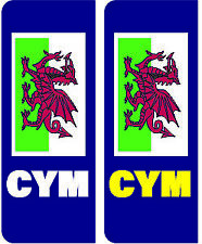 NUMBER PLATE STICKERS WALES WELSH NO EURO FLAG BREXIT CAR VAN TRUCK -  PLATE04