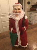 """Vintage Wooden Carved Santa 12"""" Figurine Primitive Wood Carving Figure Excellent"""