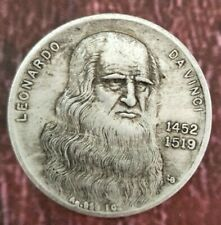 Italian Leonardo da Vinci 1452-1519 old silver dollar collection antique coins