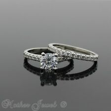 REAL 925 STERLING SILVER SIMULATED DIAMOND ENGAGEMENT & WEDDING BAND RING SET
