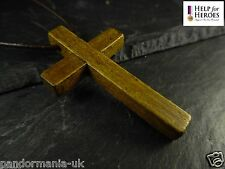 Genuine Wooden Cross Leather 80cm Necklace, 10% Donation To Help For Heroes UK