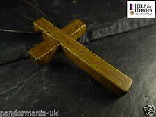 Genuine Cuero 80cm Collar Cruz De Madera, 10% donación para ayudar a para héroes UK