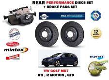 FOR VW GOLF MK7 2.0 R GTI GTD 2013-> REAR PERFORMANCE BRAKE DISCS SET + PADS KIT