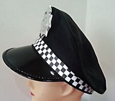 Black Police Officer Cop Cap Hat Fancy Dress Theme Costume Stag Bucks Party