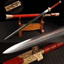 "New Boutique Chinese Longquan Sword ""Han Jian"" Pattern Steel Copper Tsuba Sharp"