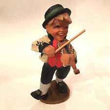 Beautiful Henning Hand Carved Norway Boy Fiddler Violin Player Wood Figurine