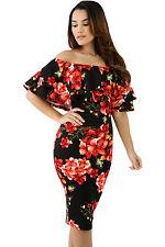 Abito aderente stampato Floreale Balza Fascia Cerimonia Party Floral Dress L