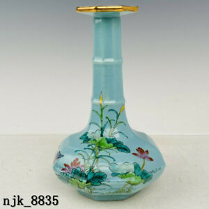 China  Song dynasty  Ru kiln  Tracing gold  Pastel  Lotus pattern  bottle